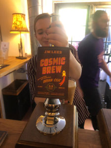 Pouring Cosmic Brew at the London launch