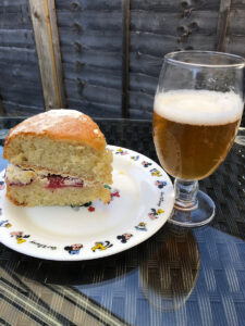 La Chouffe beer from Duvel Moortgat with strawberry-and-cream sponge
